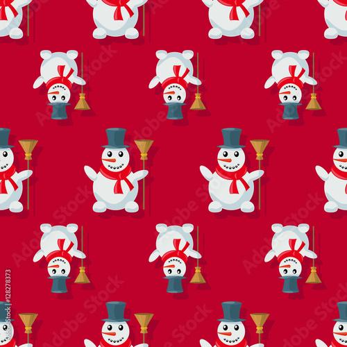 Cotton fabric Seamless pattern snowman