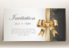 Pretty Wedding Invitation With Golden Ribbon And Bow.