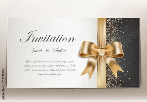 Fototapeta  pretty wedding invitation with golden ribbon and bow. obraz