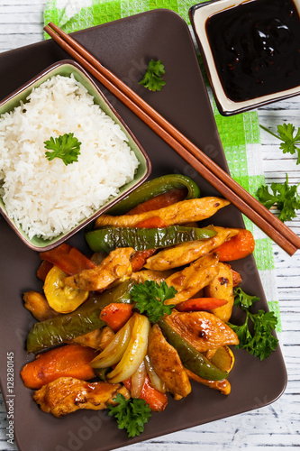 Photo  Chicken and Rice with Spicy Sesame Teriyaki Wok Sauce