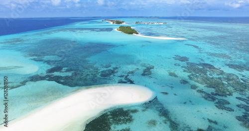 Fotografie, Obraz  Panoramic landscape seascape aerial view over a Maldives Male Atoll islands