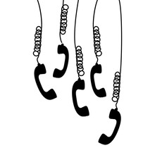 Multiple Handset Hanging Of The Cord Vector Illustration