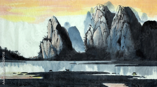 Photo Stands Black Chinese landscape mountain and river