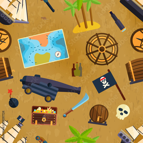 Cotton fabric Pirate seamless pattern