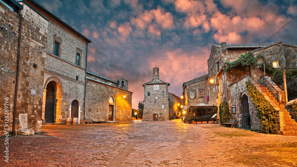 Sovana, Grosseto, Tuscany, Italy: old town t dawn