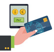 hand holding credit card technology pay money vector illustration eps 10