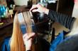 Professional hairdresser uses foil.