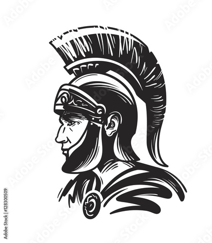 Fotografie, Obraz Roman centurion soldier. Sketch vector illustration