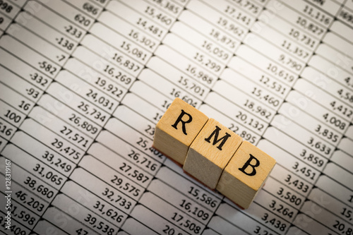 RMB on spreadsheet - Buy this stock photo and explore