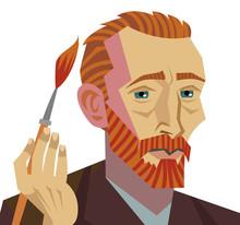 Van Gogh Cartoon Painter Face Drawing With Paintbrush
