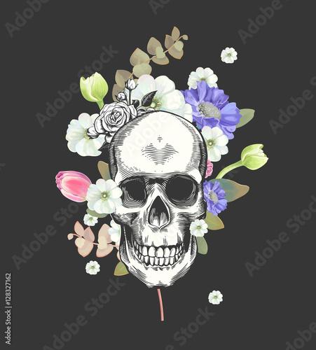 Printed kitchen splashbacks Watercolor skull Smiling Skull and Flowers Day of The Dead, Black Fashion illustration. Vector.