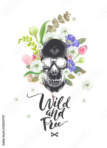 Foto auf AluDibond Aquarell Schädel Smiling Cartoon Skull and Flowers. Day of The Dead. Black Fashion illustration. Could be used for T-shirt print, cards, banners. Wild and Free lettering. Vector.