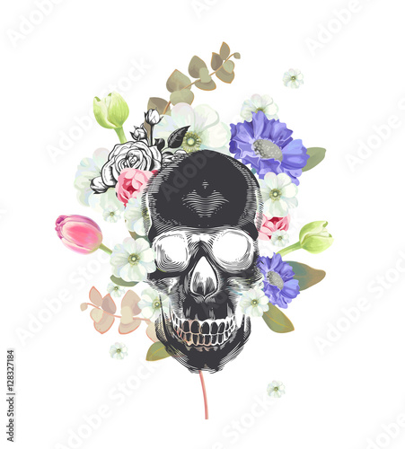 Printed kitchen splashbacks Skull. Mexican Day of the Death. Flowers and plants on a painting background. Could be used for T-shirt print, cards, banners. Vector illustration