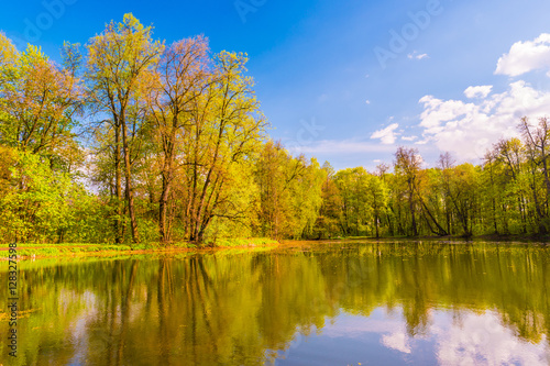 Fototapety, obrazy: Autumn Landscape. Park in Autumn. The bright colors of autumn in the park by the lake.