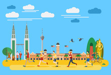 Flat Design, Group Of People Running In Malaysia