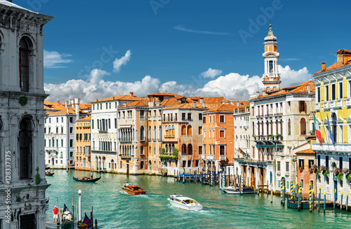 Photo  The Grand Canal and colorful facades of old houses, Venice