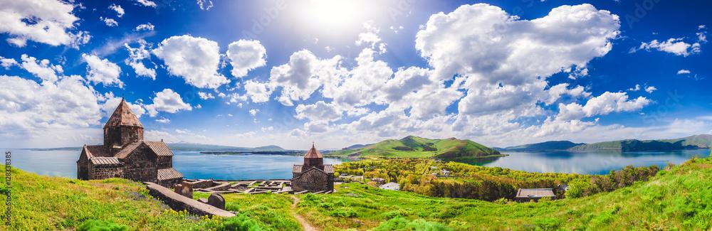 Fototapety, obrazy: The Sevan temple complex on the peninsula of the Lake Sevan, Armenia.