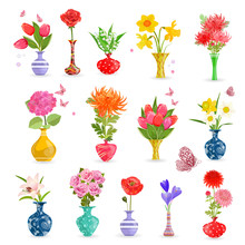 Colorful Collection Art Vases With Bouquet Of Flowers For Your D
