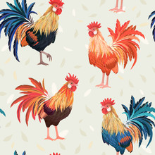 Vintage Seamless Texture With Cute Roosters