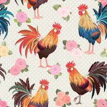 Vintage Seamless Texture With Cute Roosters And Roses.