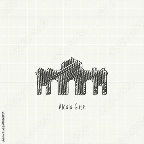 pencil drawing of the alcala gate monument architectural sketch