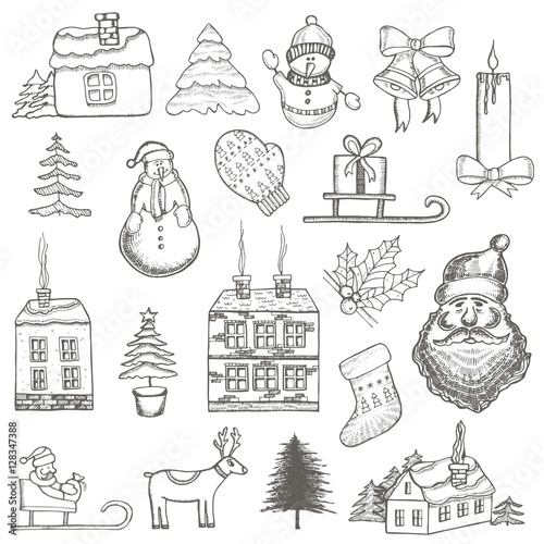 Poster Doodle Christmas themed set of vector drawings