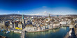 Historic Zürich city center with famous Fraumünster Church, Limmat river and Zürich lake, Switzerland