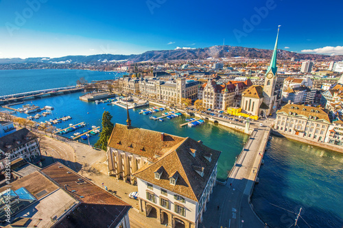 Canvas Prints Ship Historic Zürich city center with famous Fraumünster Church, Zürich lake and Limmat river, Switzerland