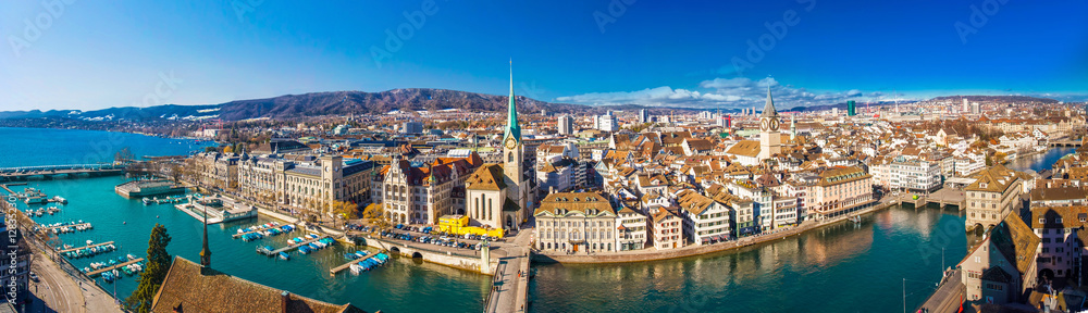 Fototapety, obrazy: Historic Zürich center with famous Fraumünster Church, Limmat river and Zürichsee, Switzerland