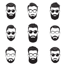 Set Of Vector Bearded Men Faces, Hipsters With Different Haircut