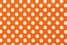 Orange And White Distressed Polka Dots Background.