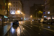 Night rainy street in Ostend, BelgiuFence around playground, Ostend, Belgium