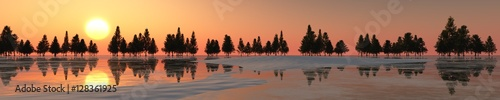Poster Cappuccino Panorama of the winter landscape. Sunset over ice and snow. 3d rendering.