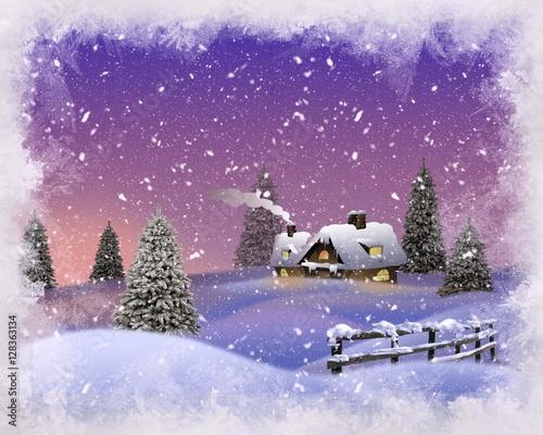 Poster Prune Winter landscape card .