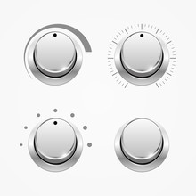 Set Of Regulator Buttons, Isolated On White, Vector