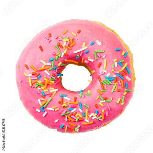 Photo  Donut with colorful sprinkles. Top view.