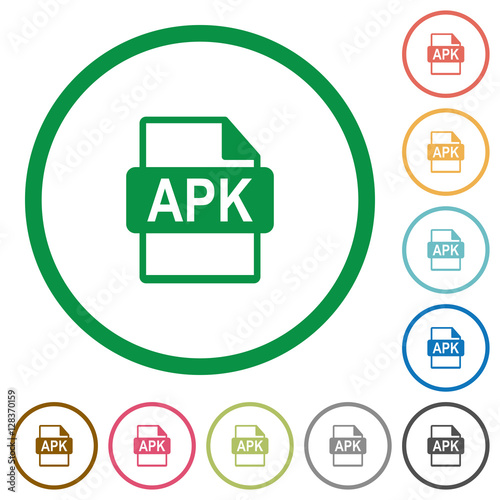 APK file format flat icons with outlines - Buy this stock vector and
