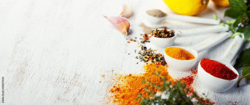 Fototapety, obrazy: Herbs and spices selection, close up