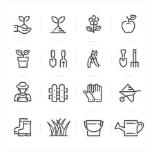 Gardening Icons With White Bac...