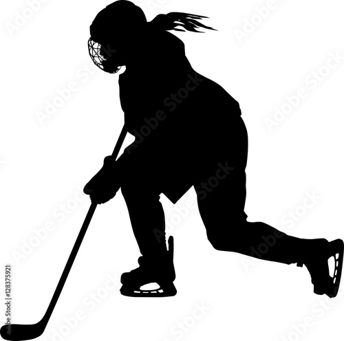 Female Hockey Player Skating With Stick Buy This Stock