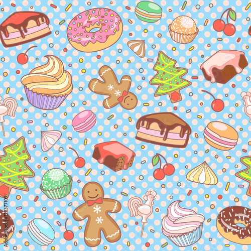 Cotton fabric Dessert seamless vector pattern.