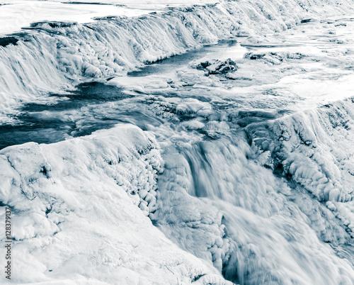 Aluminium Prints Dark grey Frozen falls - Monochrome