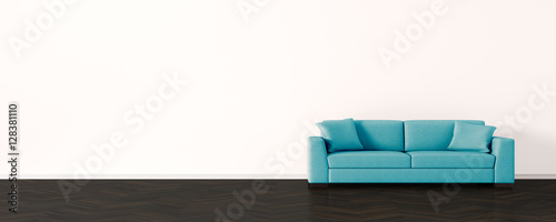Fototapeta rustic living room with leather sofa