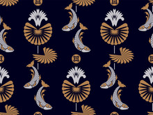 Japanese Or Chinese Fan And Flower And Fish Seamless Pattern.