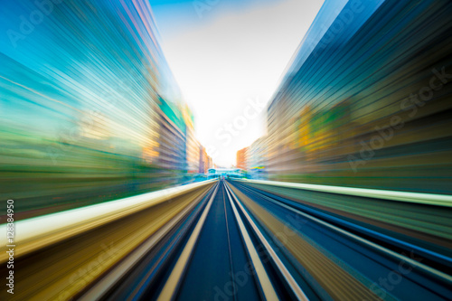fototapeta na ścianę Speed motion in urban highway road tunnel