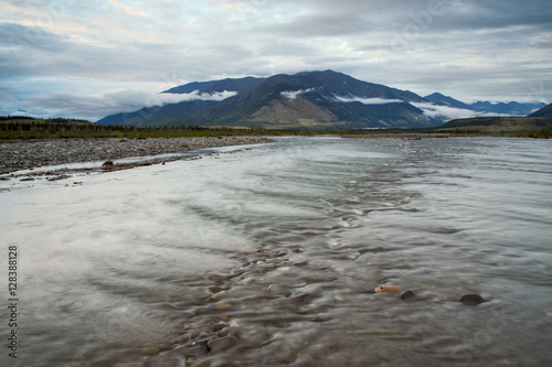 Printed kitchen splashbacks Lake Wide and soft mountain river with rapids. Inyali River, a tributary of the Indigirka. Yakutia. Russia.