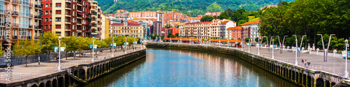 Bilbao city downtown with a River