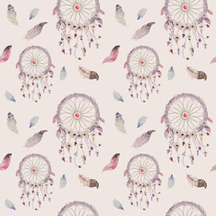FototapetaDreamcatcher and feather pattern. Watercolor bohemian decoration