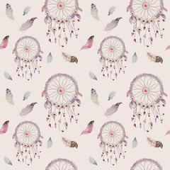 Fototapeta Do pokoju Dreamcatcher and feather pattern. Watercolor bohemian decoration