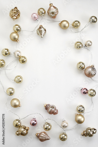 Pink And Gold Vintage Christmas Ornaments And Antique Mercury Glass